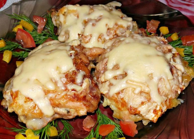 курица с грибами под картофельной шубой рецепт с фото