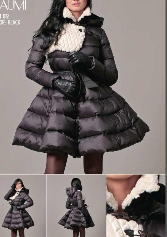 Купить пуховик-платье с пышной юбкой