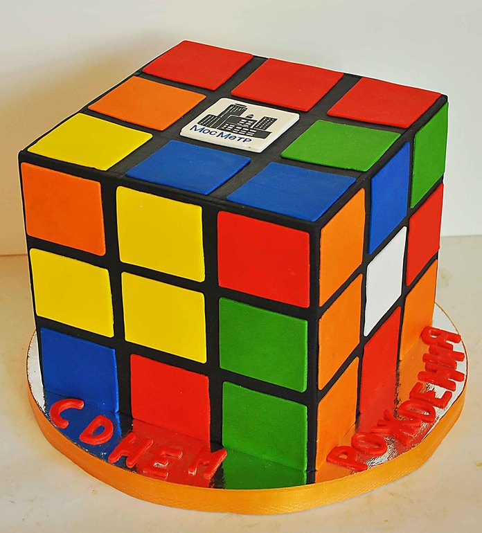 Торт Кубик Рубика, МК - У самовара - Украшение тортов 14
