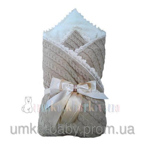 Одеяло-конверт на выписку вязанный