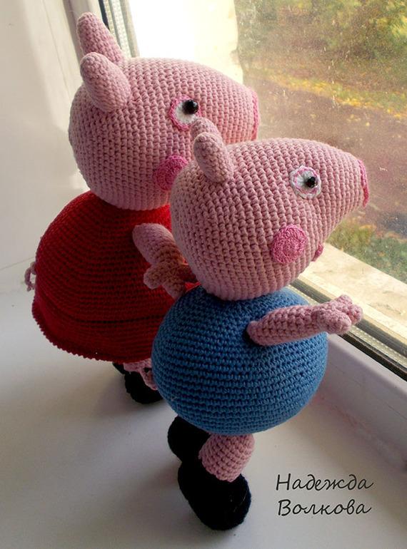 Вязание крючком игрушки свинка 724