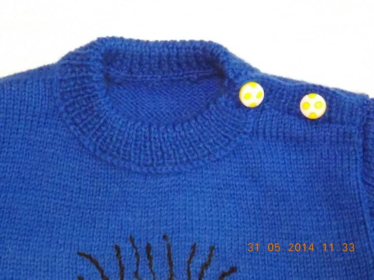 Вязание застежки на плече пуловера