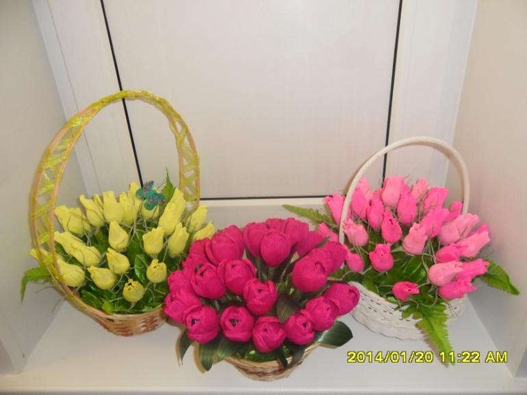 Корзина с конфетами и цветами мастер класс