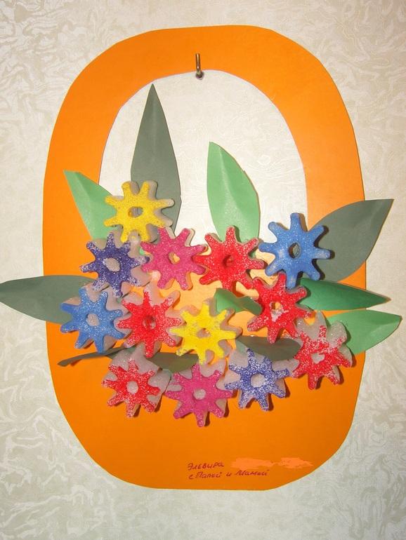 Корзина с цветами своими руками из бумаги аппликация 95