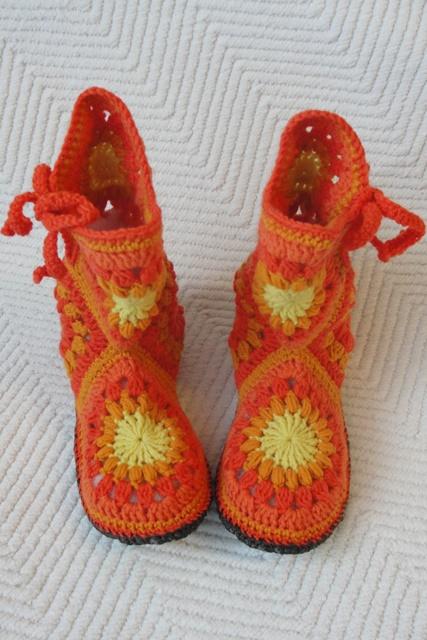 тапочки сапожки оранжевое настроение вязание крючком сапожки из