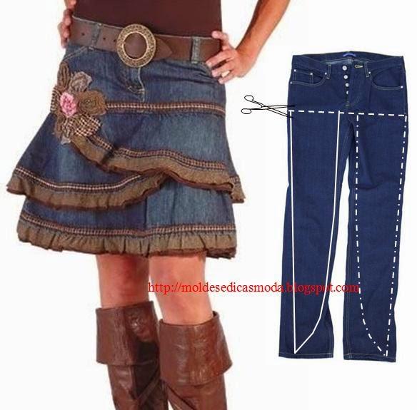 Как сшить юбку из старых джинсов своими