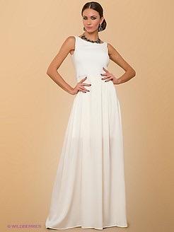 Платье ниже колена белое