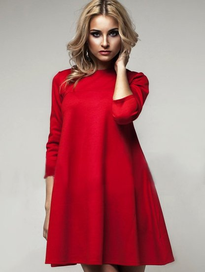 Платье красное трапеция фото