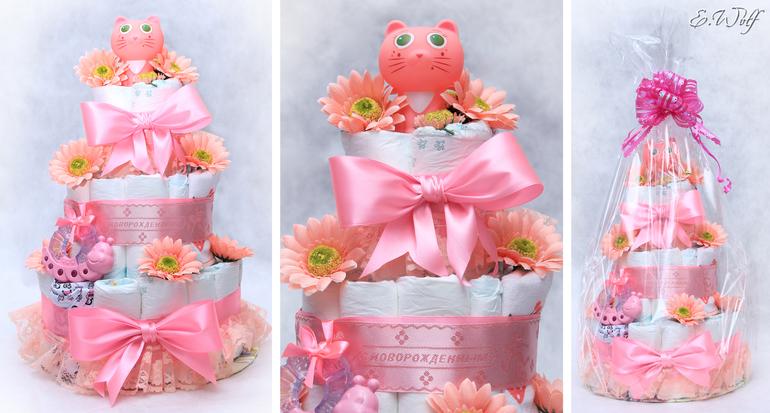 Как сделать торт из памперсов для девочки пошагово