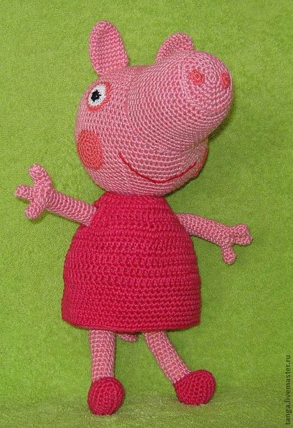 Вязание крючком игрушки свинка 354
