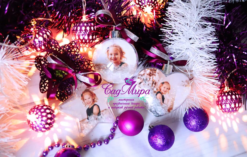 Набор новогодних шаров с фото.