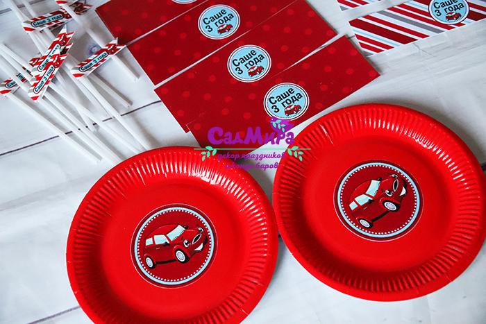 Декор для кэнди бара с Красными Машинками