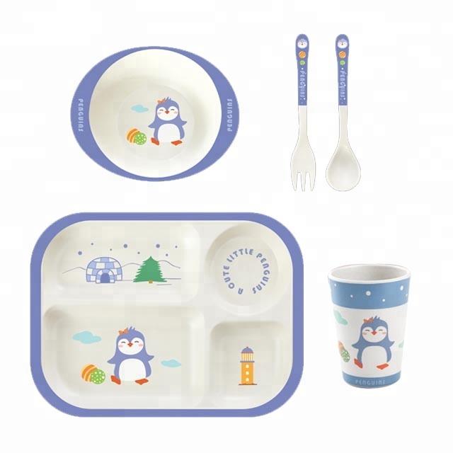 Набор эко посуды для детей Пингвинёнок