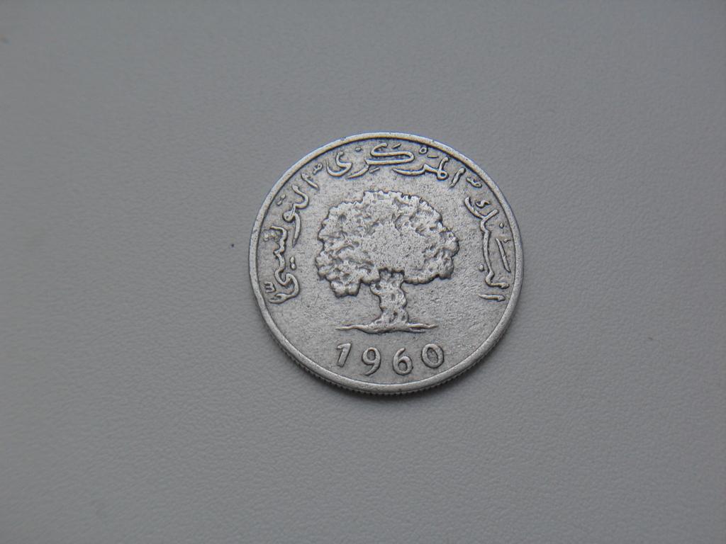 Монета 5 Миллимов 1960 год Тунис