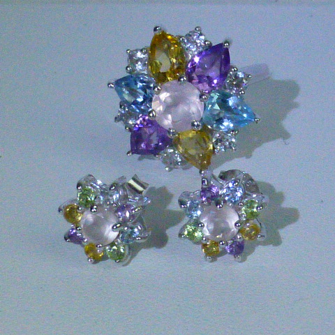 серьги-пусеты и кольцо/перстень Ag 925*+полудраги