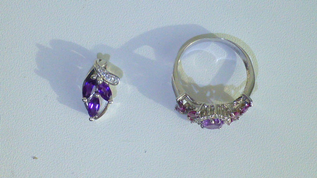кулон и кольцо серебро + аметисты и цирконы