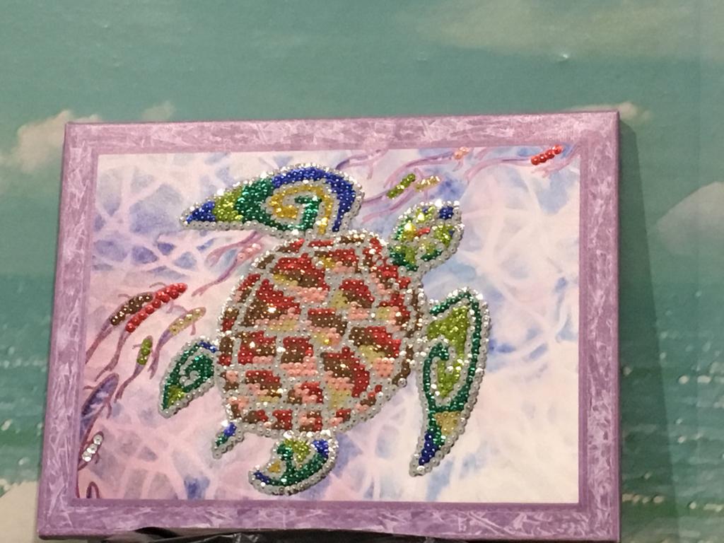 Картина Черепаха пайетками