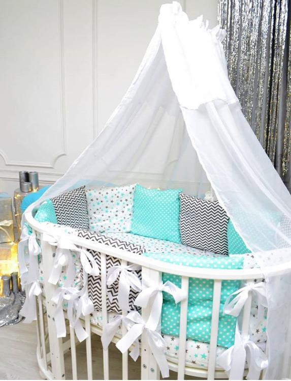 Круглая кроватка с маятником 10в1