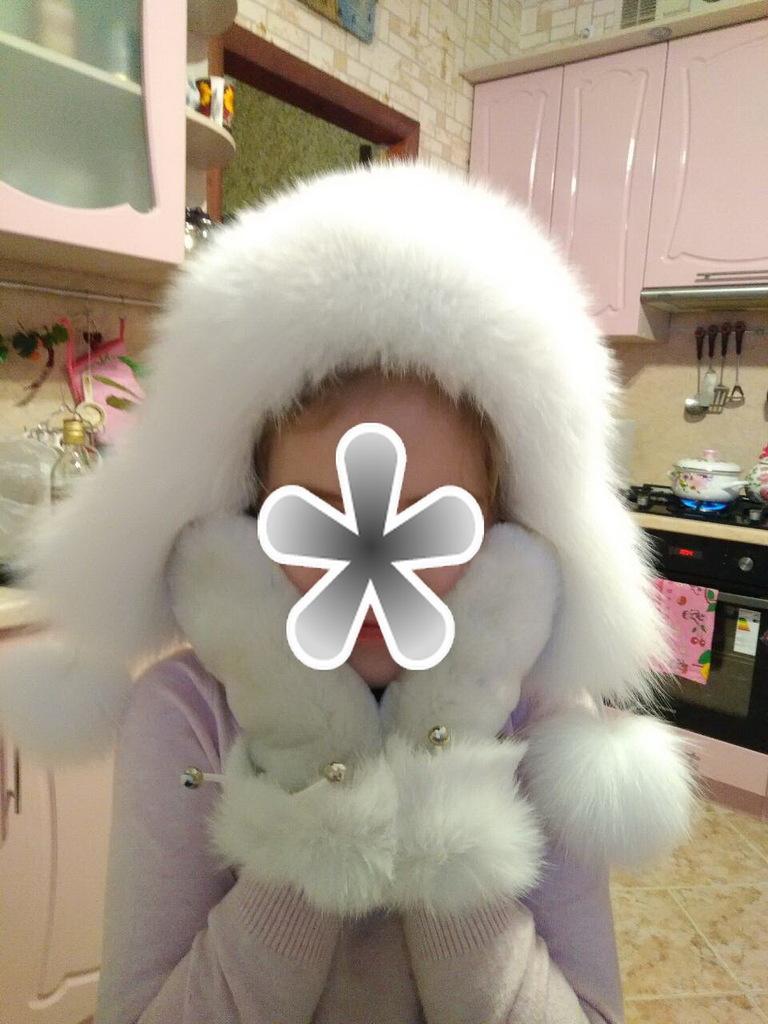новая детская шапка нат кожа псец+варежки мутон