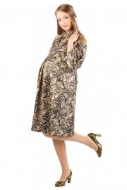 Платье новое для беременных бежевое с черным