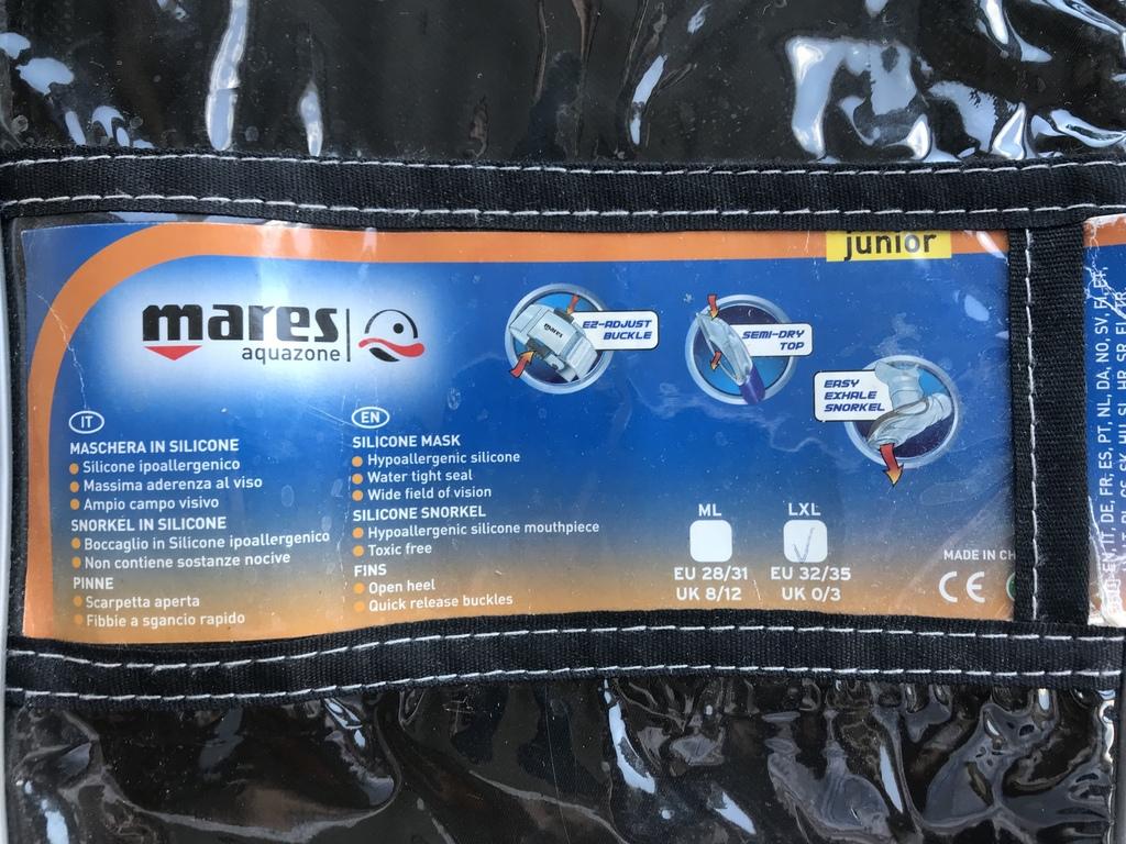 Комплект Mares Junior Италия для дайвинга и сноркл