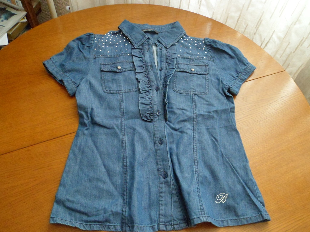 Джинсовая блузка с коротким рукавом Miss Blumarine