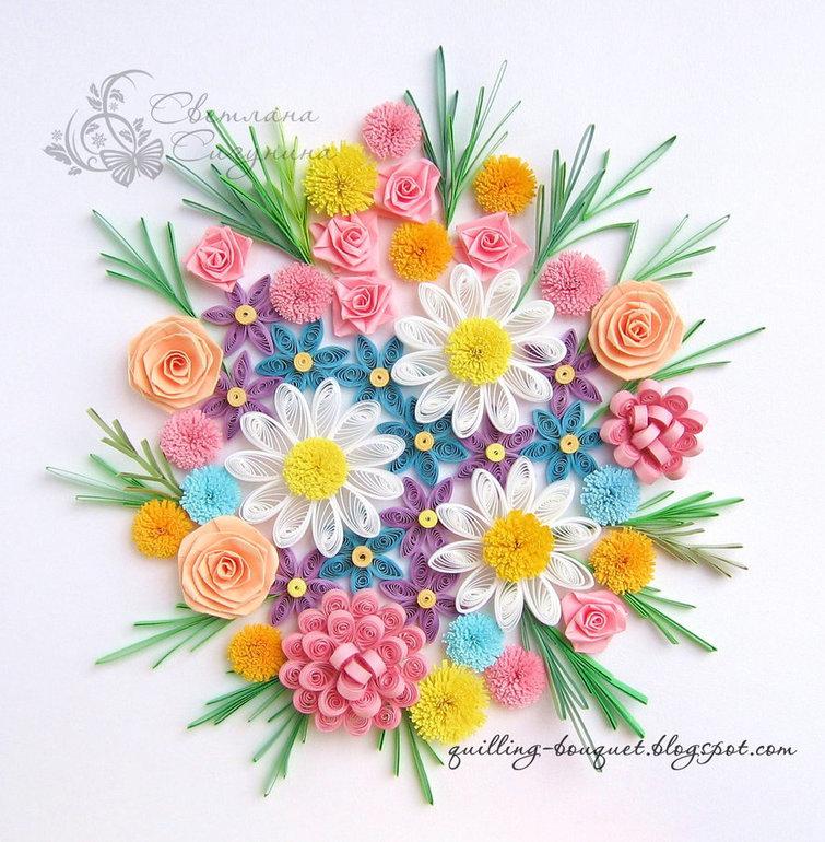 Открытка задник, цветы из гофрированной бумаги для открытки или плаката