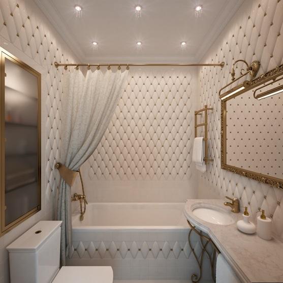 ванная комната в классическом белом исполнении плитка ромбом с