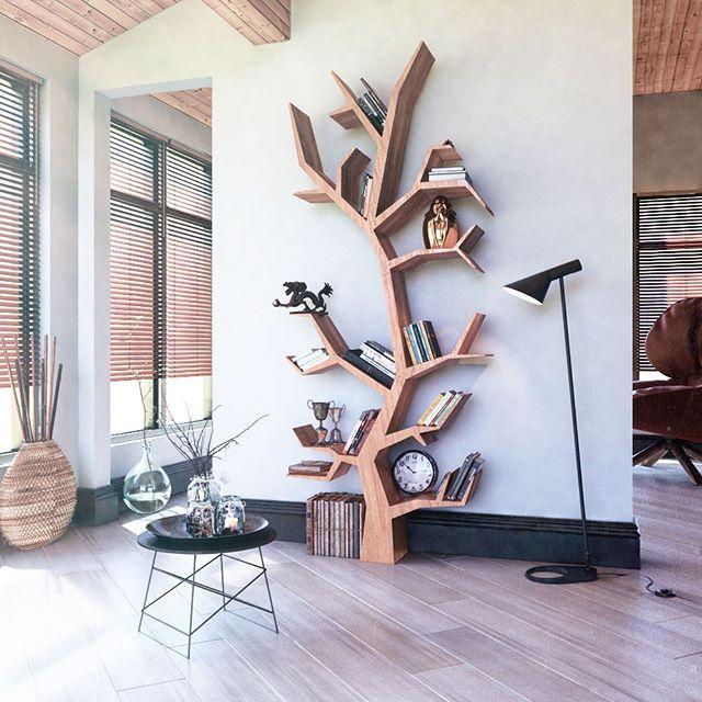 известная книжная полка в виде дерева такая длинная