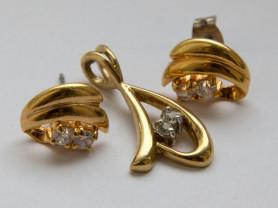 Комплект серьги-спусеты и кулон лимонного золота
