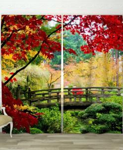 Фотошторы Мост в саду Габардин