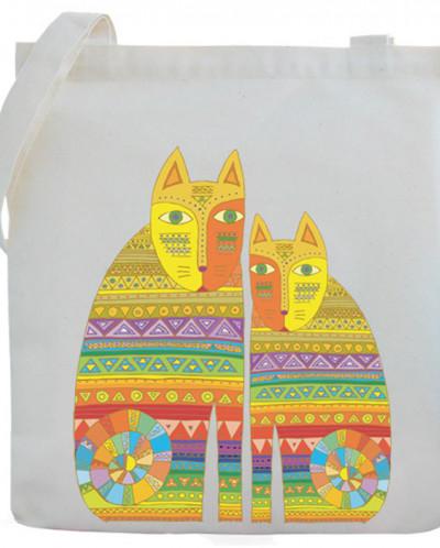3d856a380237 Холщовая сумка с рисунком «Котики» 155991 - Babyblog.ru