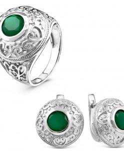 Гарнитур из серебра с нат. зеленым агатом родированный