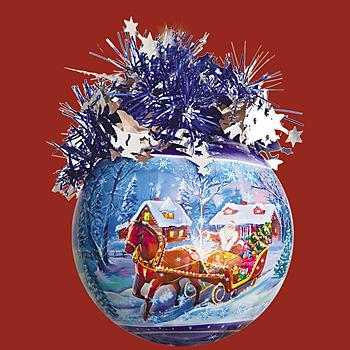 """Шар """"Рождественский"""" (Дед Мороз на санях), диаметр 85 мм, ар"""
