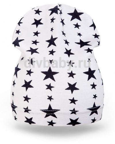 Шапка детская трикотаж звезда белый плотная