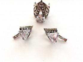 комплект серебра кольцо серьги