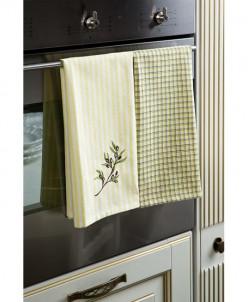 4044 Arloni Набор кухонных полотенец Оливка -2 шт.100% хл.