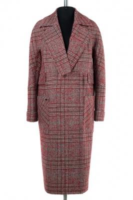 01-8173 Пальто женское демисезонное Твид/Клетка Красный