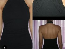 Топ чёрный Morgan размер М 46 б/у с кружевом спина открыта ткань хлопок лайкра стрейч мягкая Одежда женская бренд топы