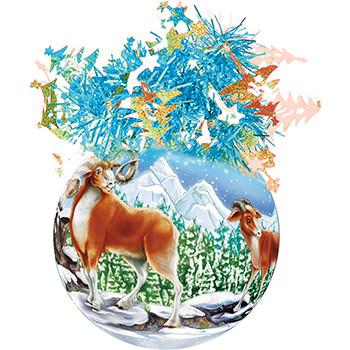 """Шар """"Рождественский"""" (Горные Бараны), диаметр 85 мм, арт. Ш8"""