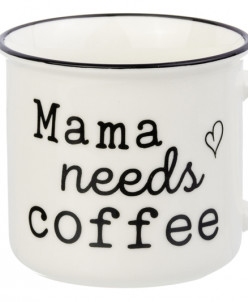 "Кружка 400 мл 12*9,5*8,5 см ""Mama needs coffee"" NEW BONE CHI"