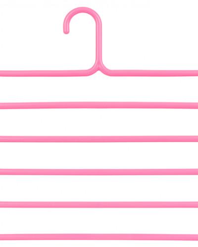 "Вешалка д/брюк 34*34 см ""Розовая"" с 5 перекладинами пластик."