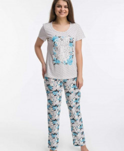 Костюм с брюками Розы (3448). Расцветка: голубой