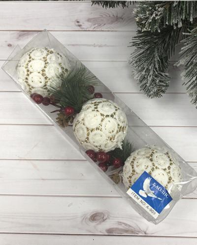 """Новогодние """"кружевные"""" шары 3 шт."""
