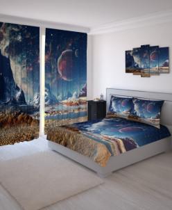 Комплект Великолепная планета Габардин: Фотошторы + Тюль + Ф