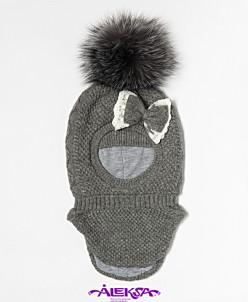 Шапка -шлем детская с утеплителем на х/б подкладке, с меховы