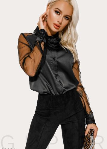 Блуза с прозрачными рукавами