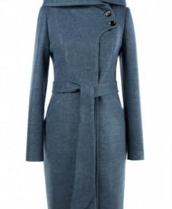 01-8060 Пальто женское демисезонное Валяная шерсть Серо-голу