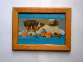 Картина,Собака,щенок и пирожное, пончик,кекс