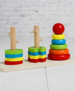 """Деревянная игрушка """"Пирамидка и сортер"""", 23*17*7 см"""